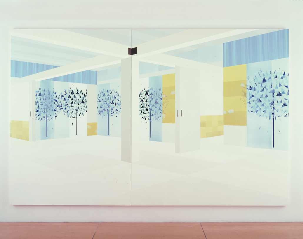 Garden View (Spring), 1998  Acrylic on canvas over panel  83-1/2 x 131 inches  212.09 x 332.74 cm