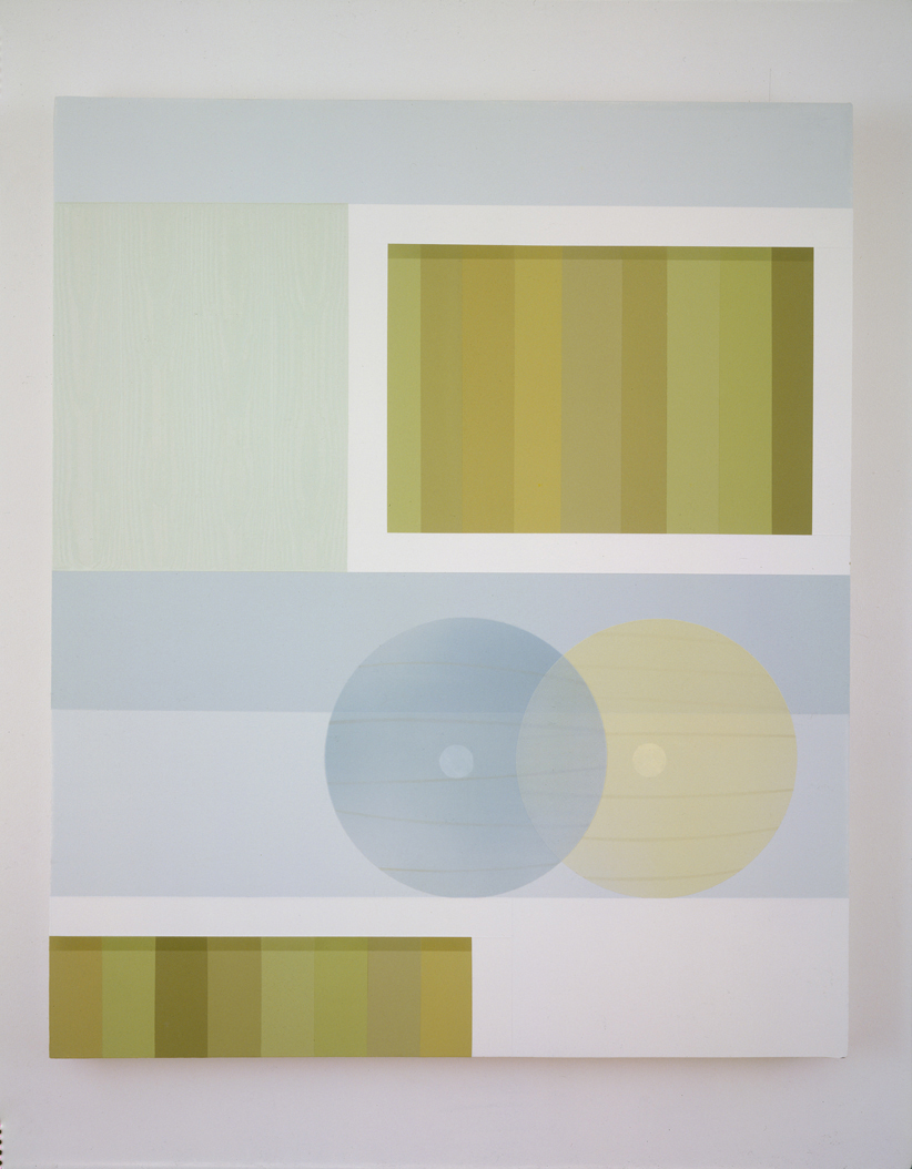 Green Books with Paper Lamps, 1998  Acrylic on canvas over panel  36 x 30 inches  91.44 x 76.2 cm