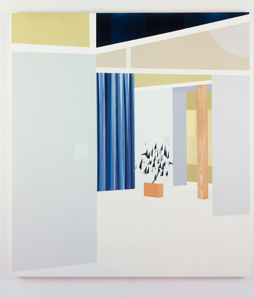Interior with Sliding Panels (North View Framing),  1998  Oil and acrylic on canvas over panel  72 x 64 inches  182.88 x 162.56 cm