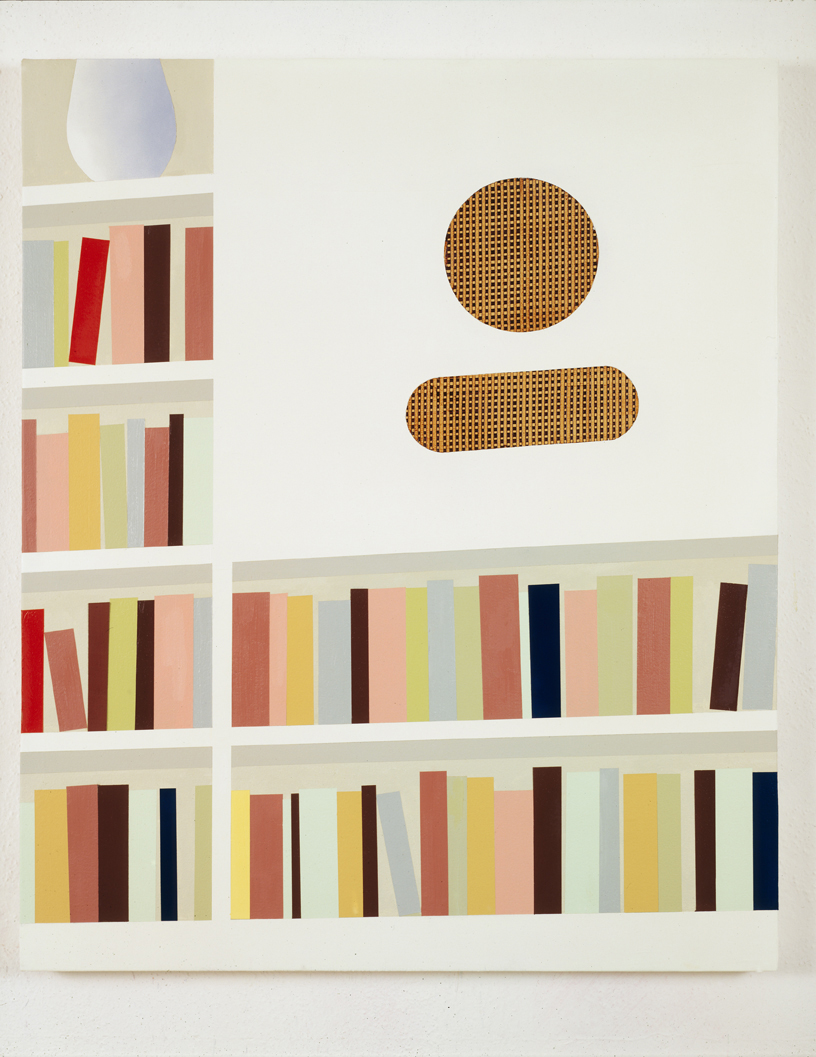 Bookshelf with Custom Speaker, 1997  Oil and acrylic on canvas over panel  36 x 30 inches  91.44 x 76.2 cm