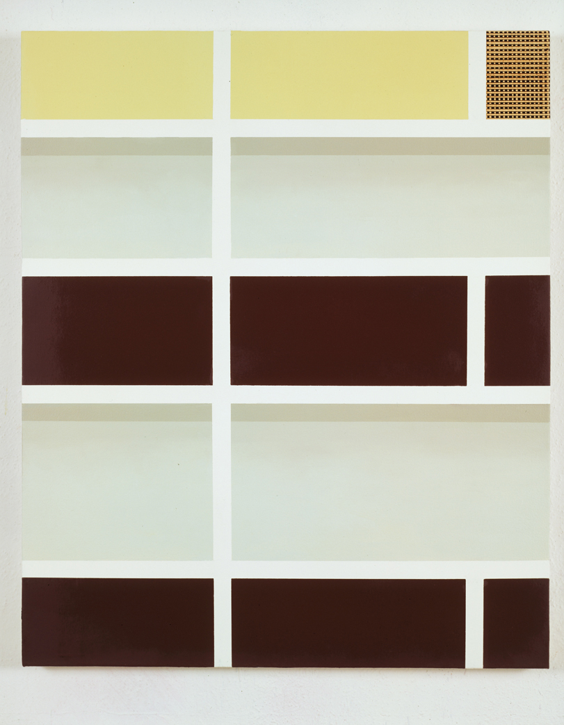 Shelf with Speaker, 1996  Oil and acrylic on canvas over panel  36 x 30 inches  91.44 x 76.2 cm