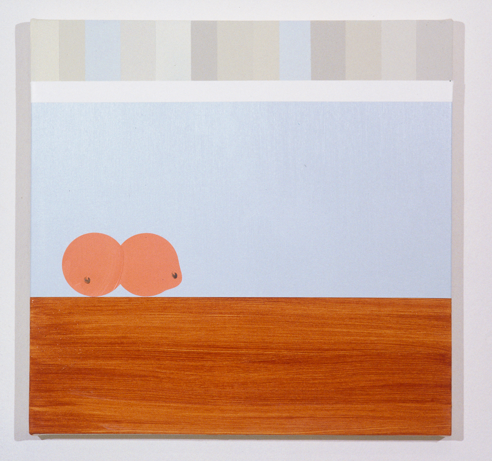 Shelf Over Buffer with Oranges, 1997  Oil and acrylic on canvas over panel  24 x 24 inches  60.96 x 60.96 cm