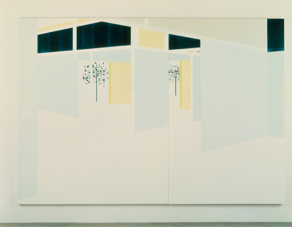 Interior with Sliding Panels (South View), 1998  Oil and acrylic on canvas over panel  96 x 138 inches  243.84 x 325.12 cm