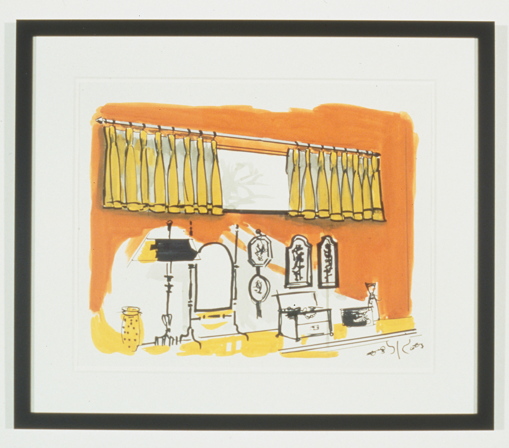 Untitled Interior Sketch 4, 1995  Gouache and marker on paper  14 x 17 inches  35.56 x 43.18 cm