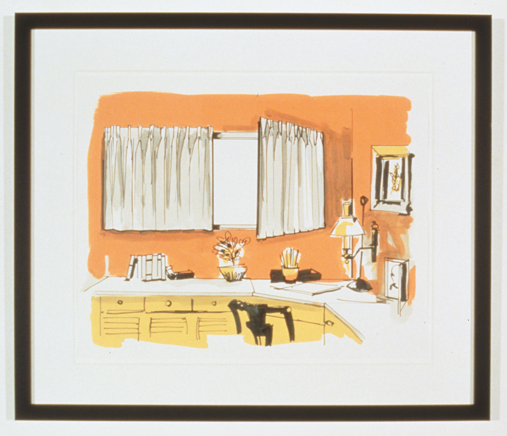 Untitled Interior Sketch 5, 1995  Gouache and marker on paper  14 x 17 inches  35.56 x 43.18 cm