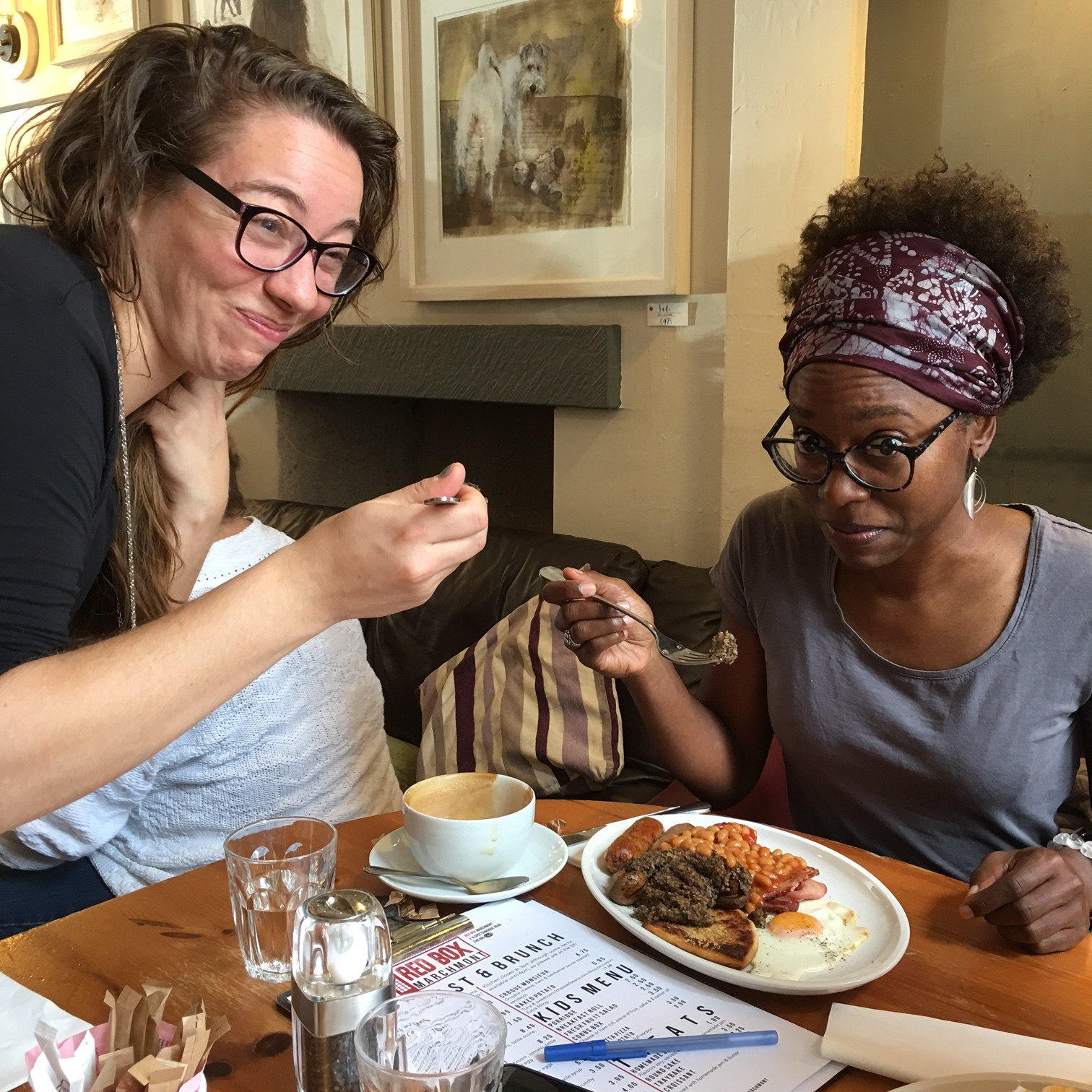 Dara and Imani try haggis for the first time (actually quite tasty!)