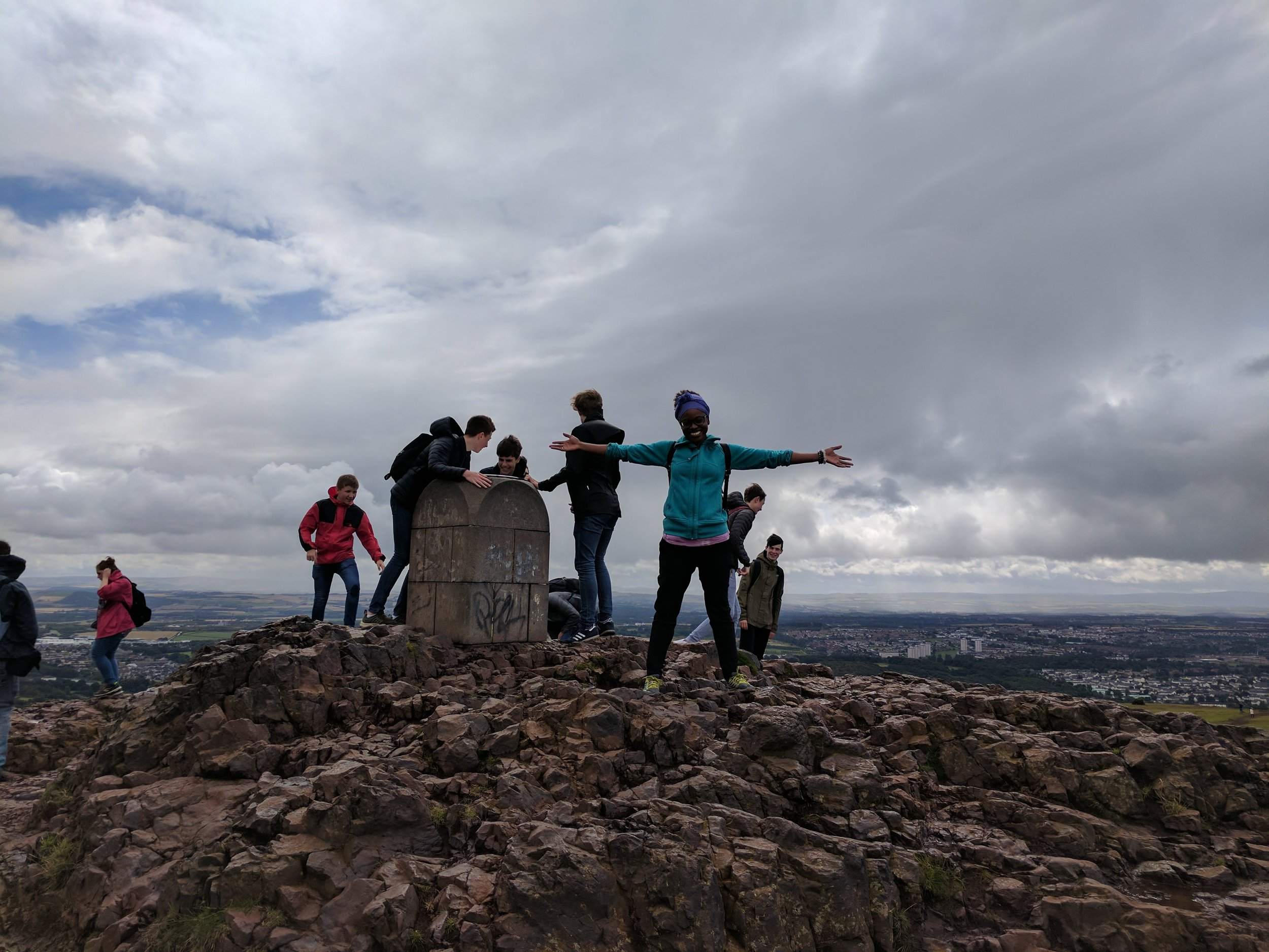 At the summit of Arthur's Seat.