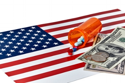 American flag medicine healthcare money cash dollars coins coin pills pill bottle medical  financial literacy