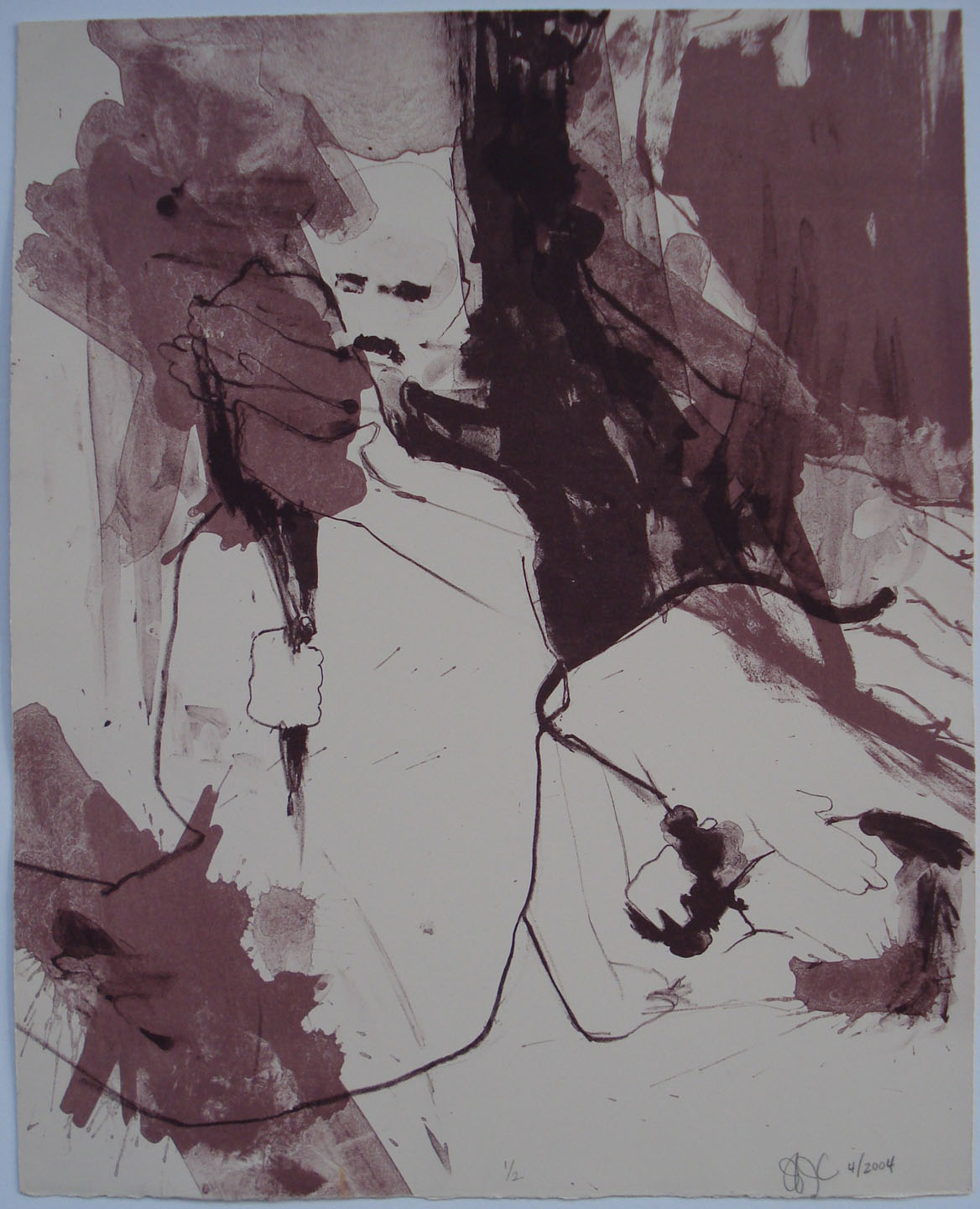 Untitled (Purple on Cream Magnani);2004    Lithograph, 12.5 x 15.5 in