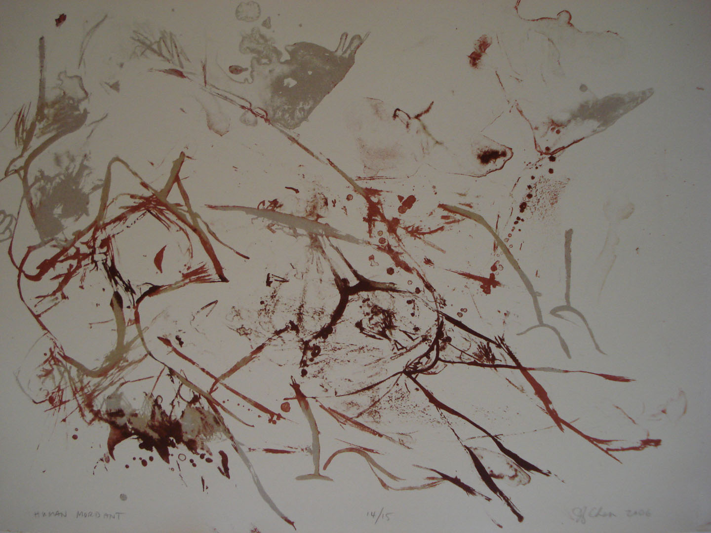Human Mordant; 2006    Reductive Stone Lithograph, 18 x 14.5 in