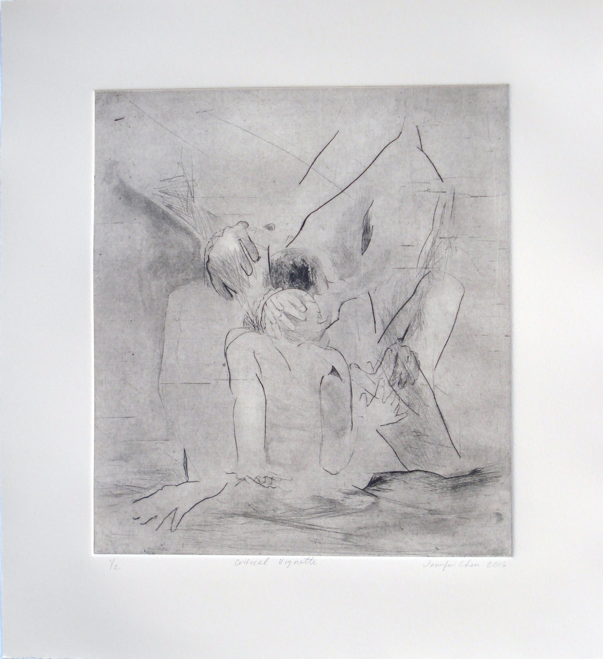 Critical Vignette;2006    Dry Point, 10.5 x 12 in