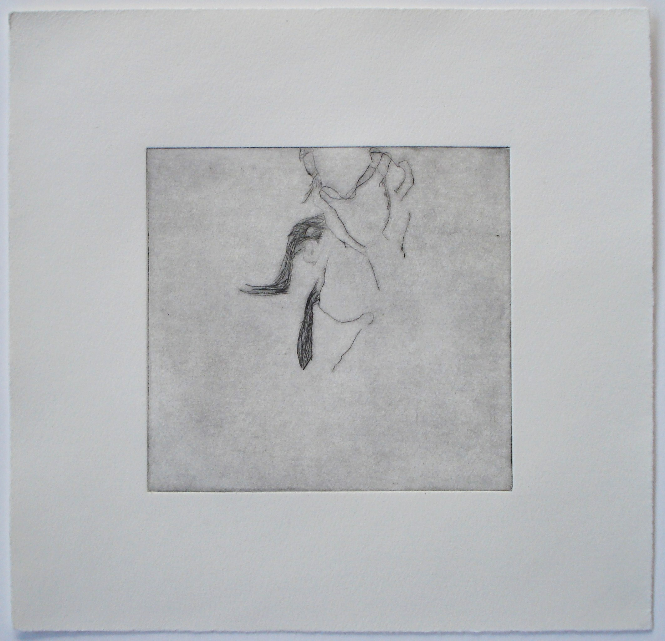 Untitled (hand on neck);2004    Drypoint, 9.75 x 9.5 in