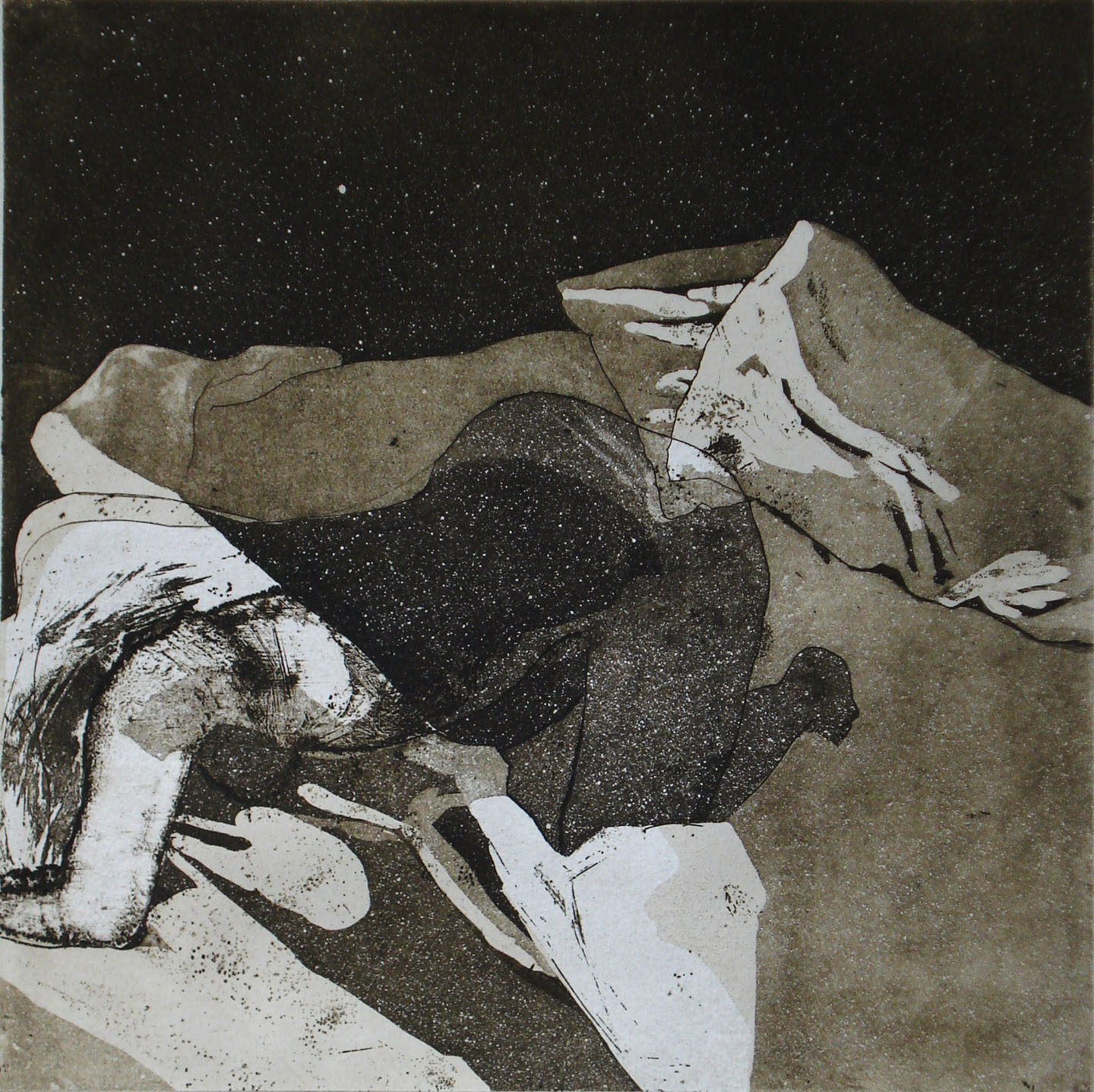 Room 402;2005  Intaglio with chine-collé,13 x 15 in