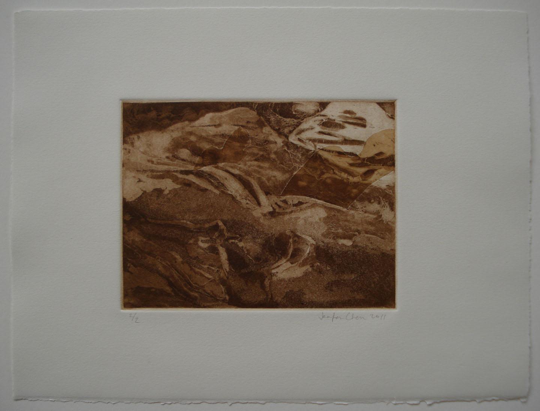 Untitled;2011    Intaglio: aquatint, spit-bite, chine-colle; 11 x 15 in
