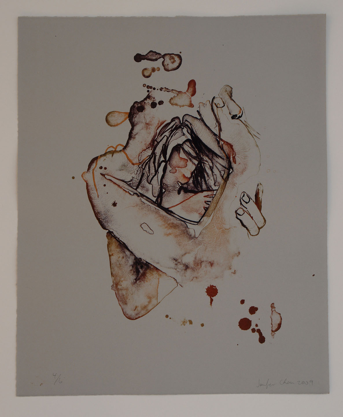 Untitled (Muffled);2009    Reductive Lithography, 18 x 15 in