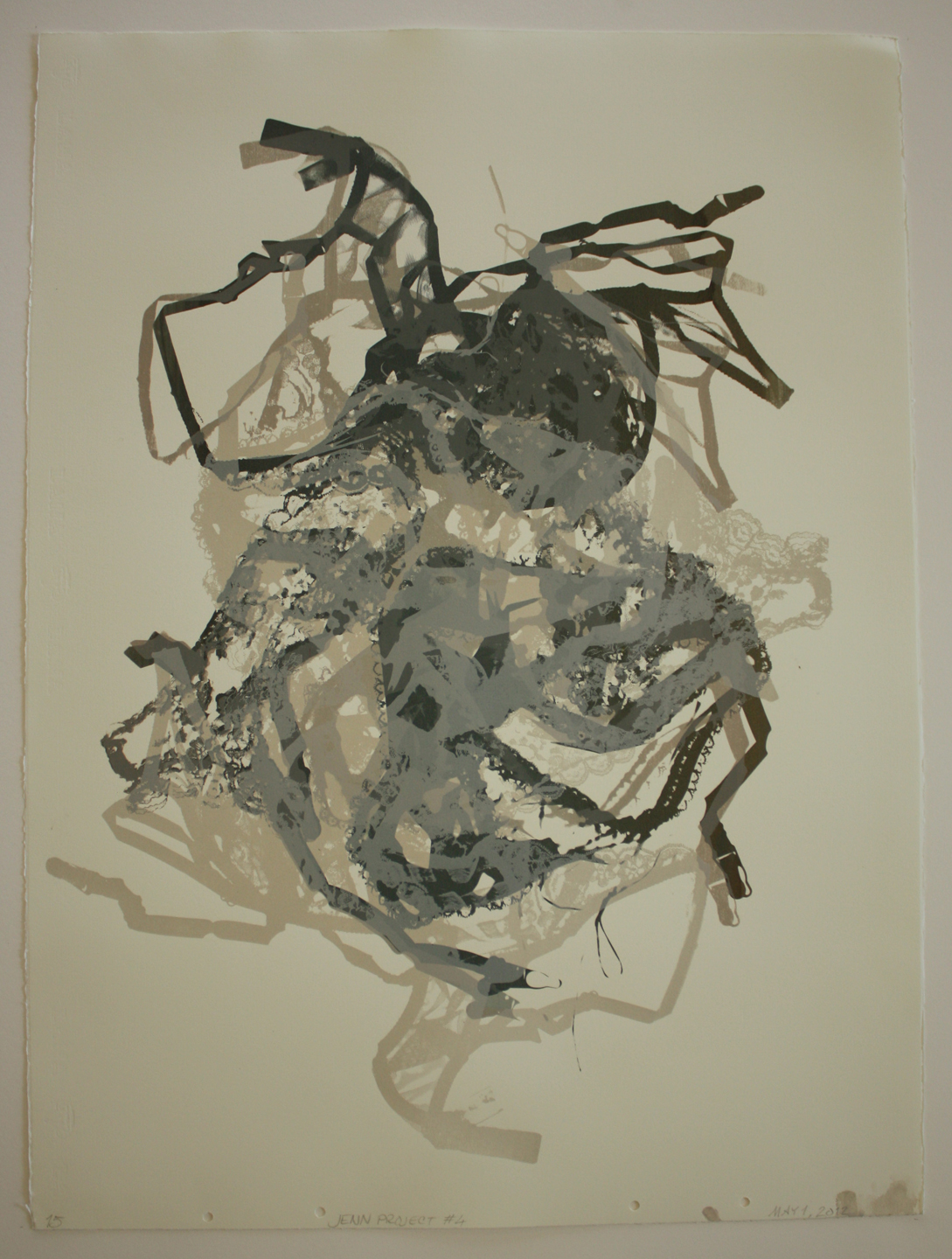 """Untitled  (Lace Monotype-Articulated Teddie) #15; 2012    Screen print,30x22"""""""