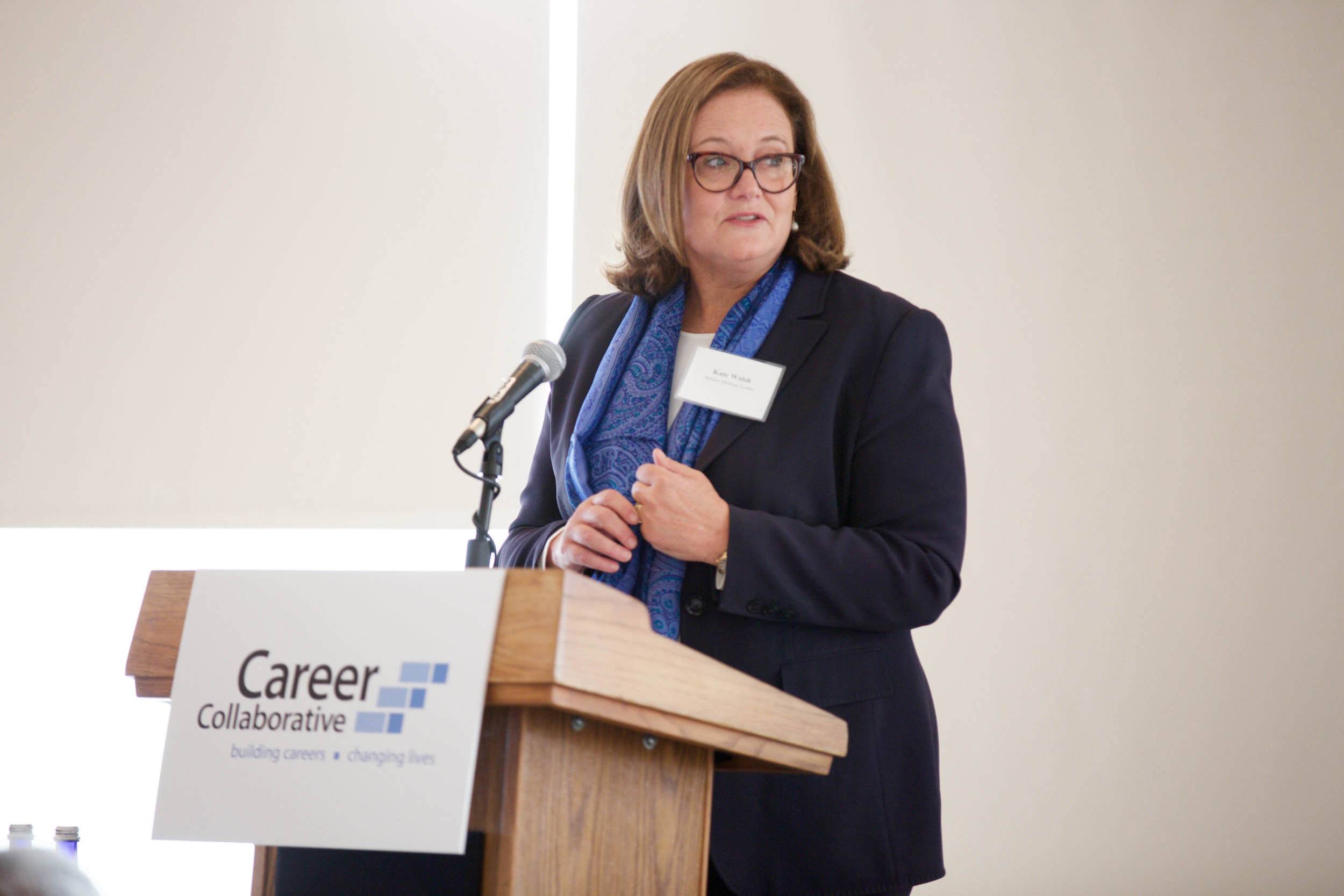 Kate Walsh, president and CEO of Boston Medical Center,    seen here at our annual Leadership Breakfast event   .