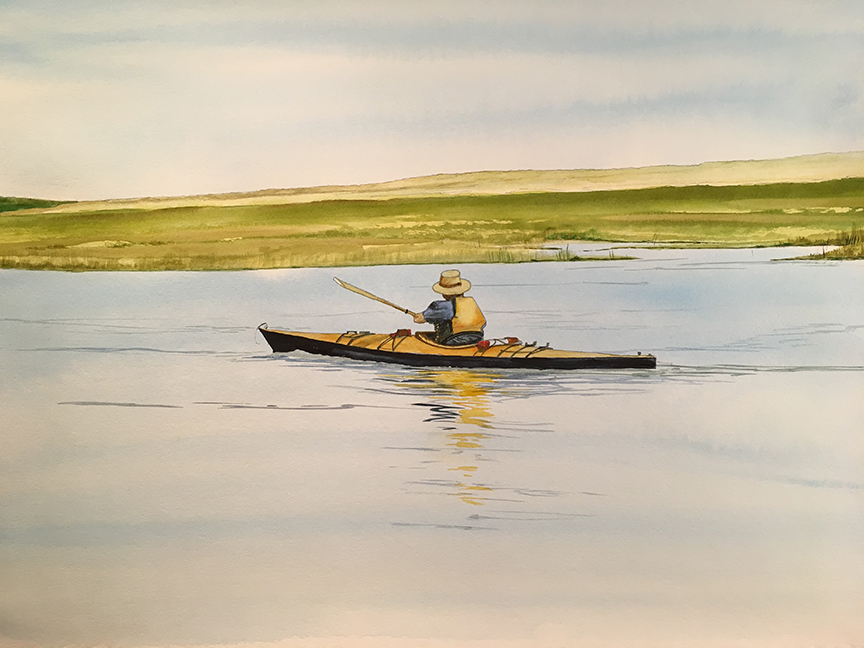 Nauset Kayaker   Paul Gal Watercolor on Paper 30.5x39.75 inches