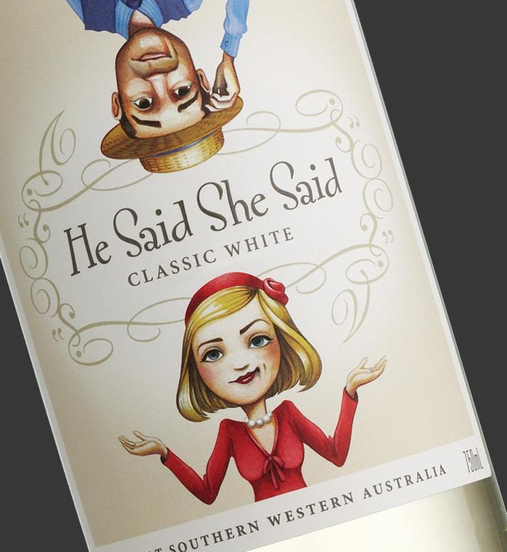 He Said She Said wine label design