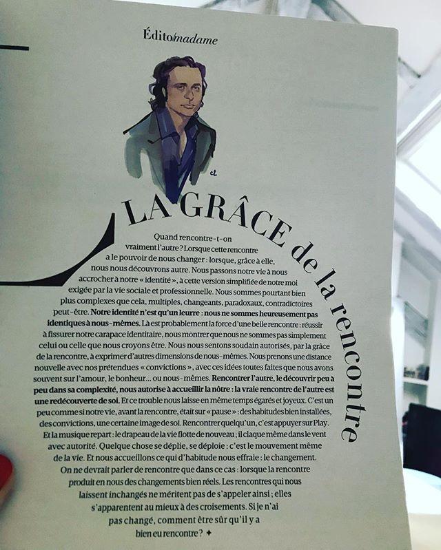 Je découvre ce matin cet édito de Charles Pépin sur la «rencontre» particulièrement pertinent... «les rencontres qui nous laissent inchangés ne méritent pas de s appeler ainsi; elles s apparentent au mieux à des croisements» #edito #madamefigaro #magazine #rencontre #philosophie #charlespepin  @pepcharles