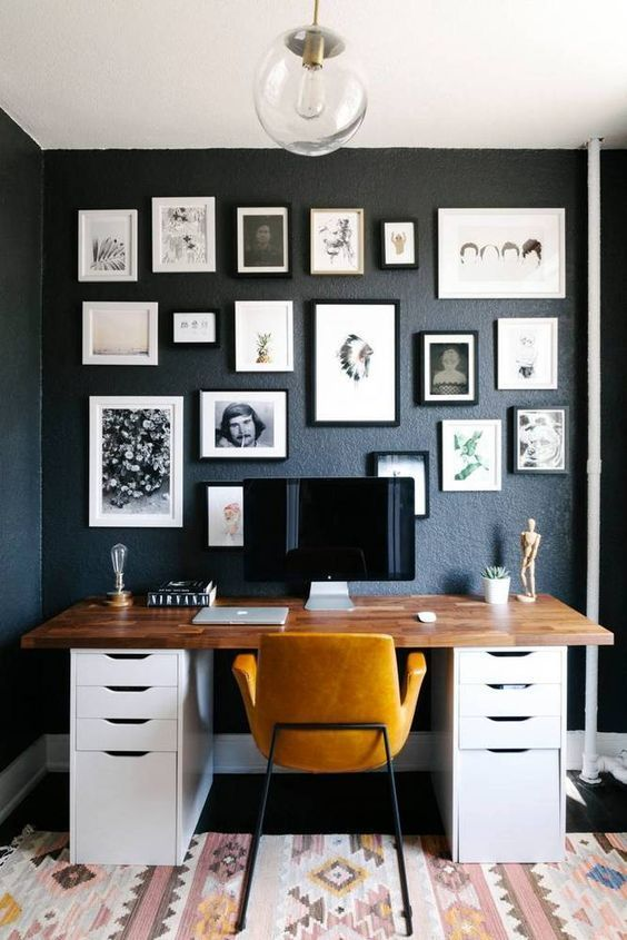 home office with yellow and bright details