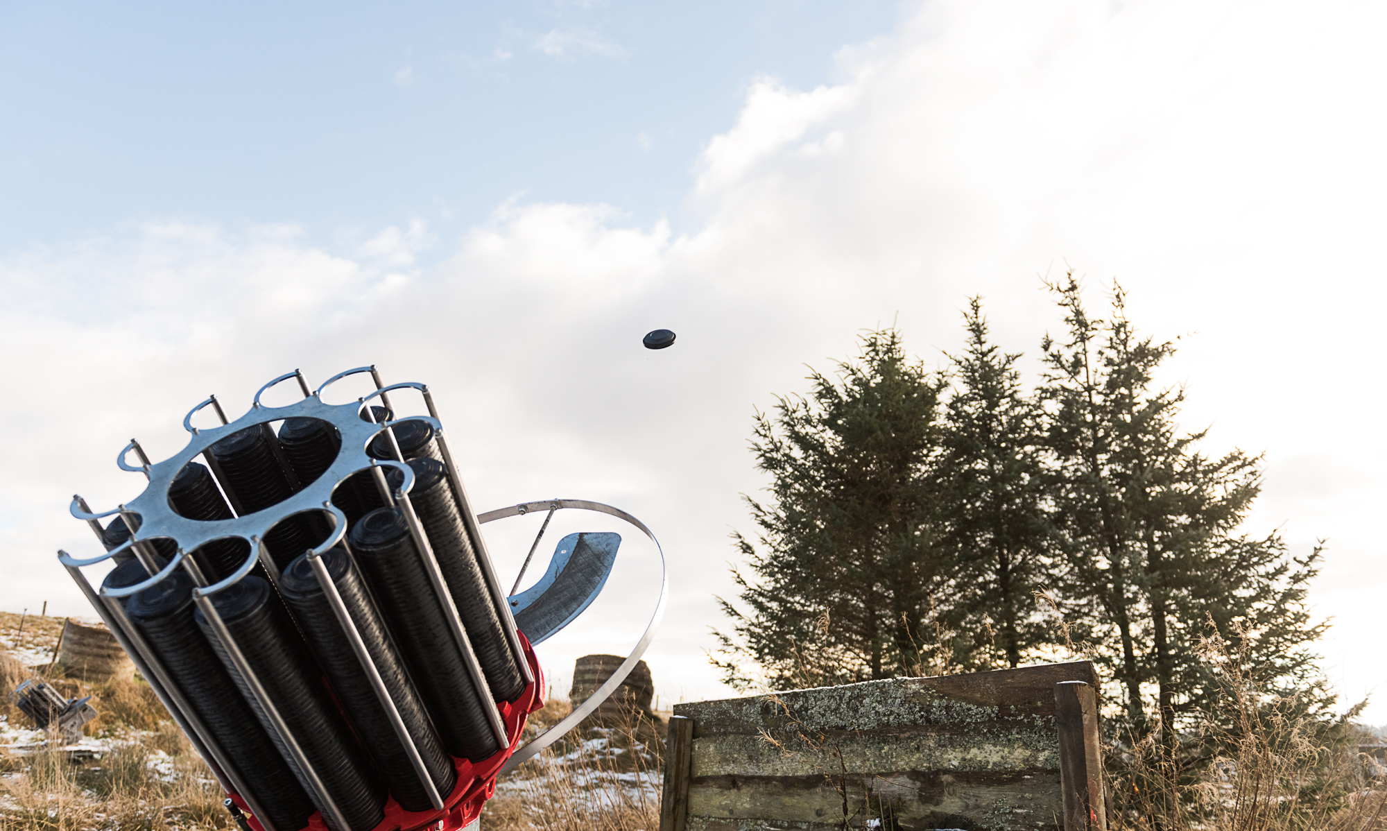Clay pigeon trap in action at Don Coyote Outdoor Centre Scottish Borders Edinburgh