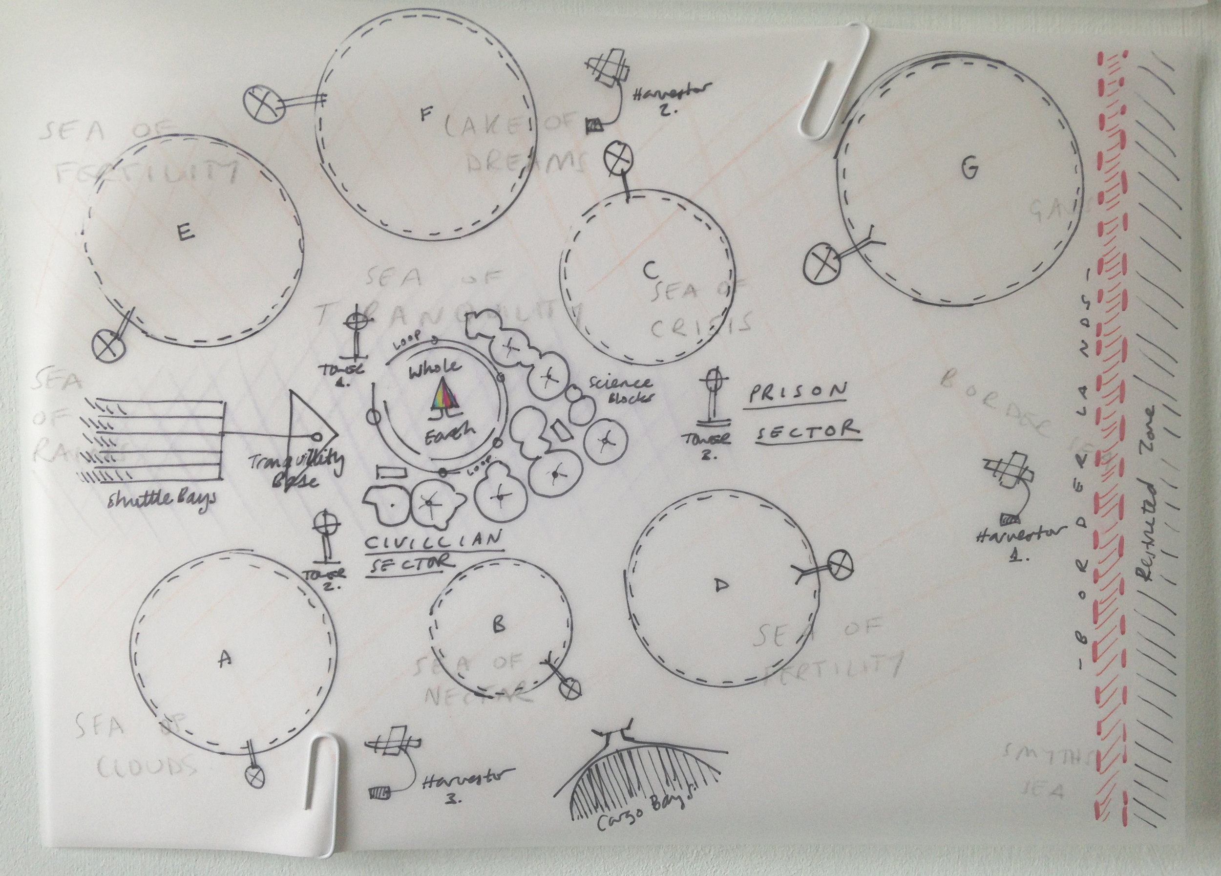The map of the Lunar Inc. base that I used to plot the movements of characters in the book.
