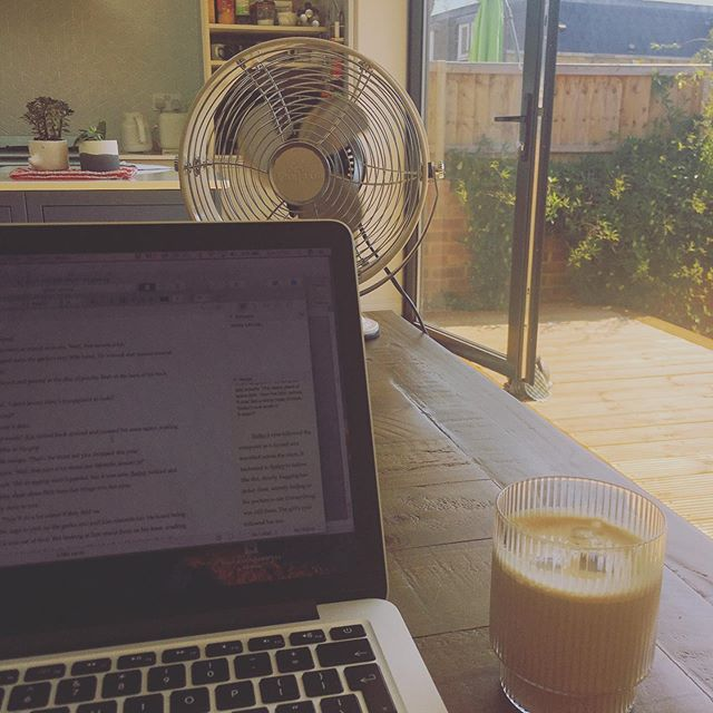 It's a fan-directly-in-your-face kind of writing day. #melting #ice-coffee #myflooristoohottostandon