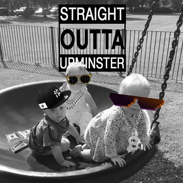 You know it's not going to be a productive day when you spend the first hour turning your baby and his mates into NWA.  #timewellspent #onadeadline #procrastination #book2 #straightouttaupminster
