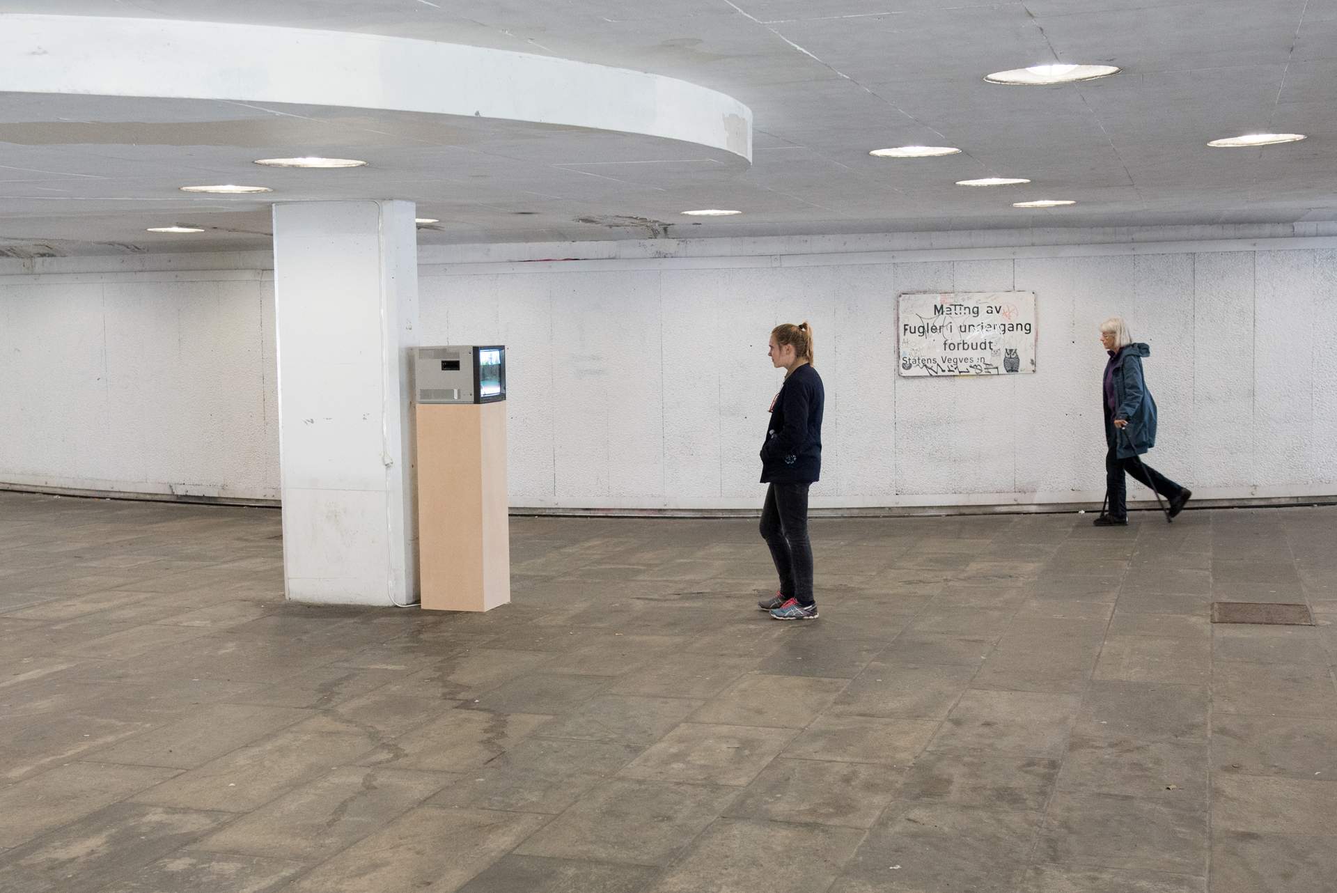 Father , 2015, installation view.  Imagining Commons , Underpass, Danmarksplass, Galleri Volt, Bergen, 2015  Photo credits: Eirik Lande