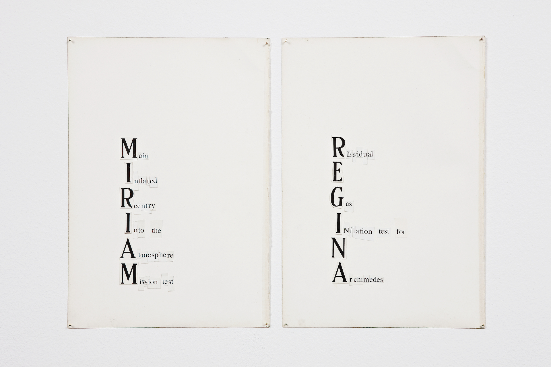 MIRIAM (Main Inflated Reentry Into the Atmosphere Mission Test), 2009, collage on paper, 16,5 x 24 cm   REGINA (REsidual Gas INflation test for Archimedes), 2009,collage on paper,16,5 x 24 cm