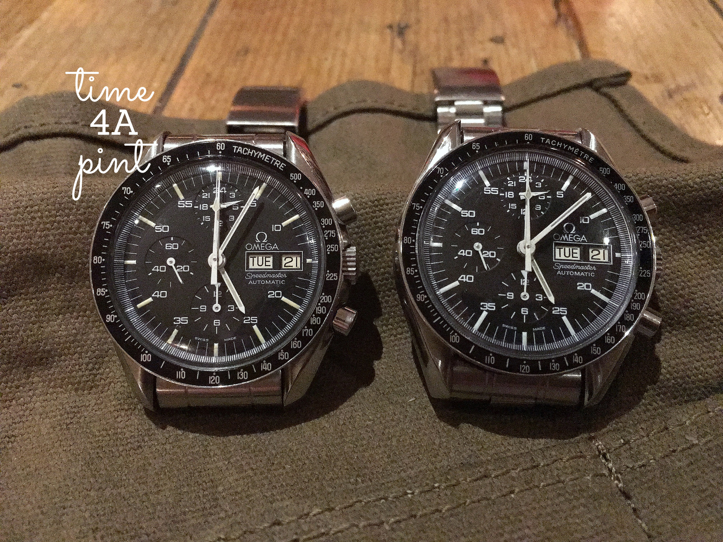 """Pair of Omega Speedmaster 376.0822 """"Holy Grail"""" watches"""