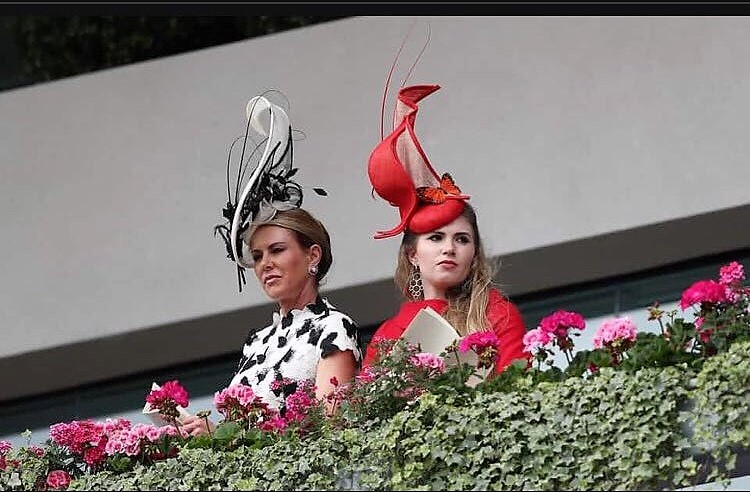 Belinda Strudwick in a Catherine Walker dress and her daughter Alexandra looked gorgeous. Both wearing Katherine Elizabeth Millinery hats, featured in Harpers Bazaar!