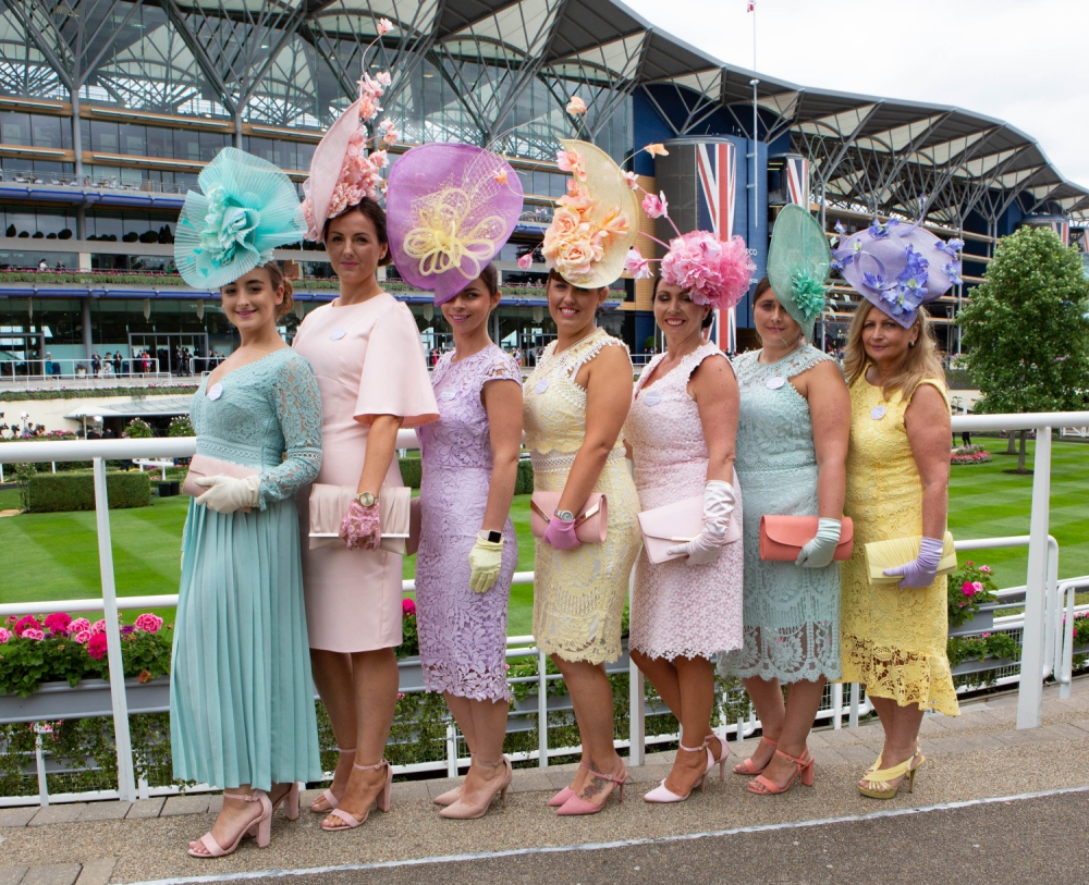 Ladies at Royal Ascot looking lovely in pastel colours, Credit Getready
