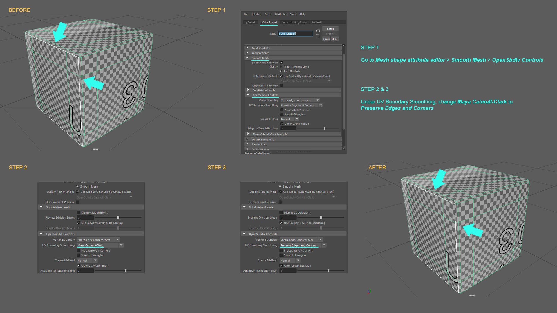 Maya Fix Stretched Texture At Uv Borders In Smooth Preview Rhmnvfx 3d Artist