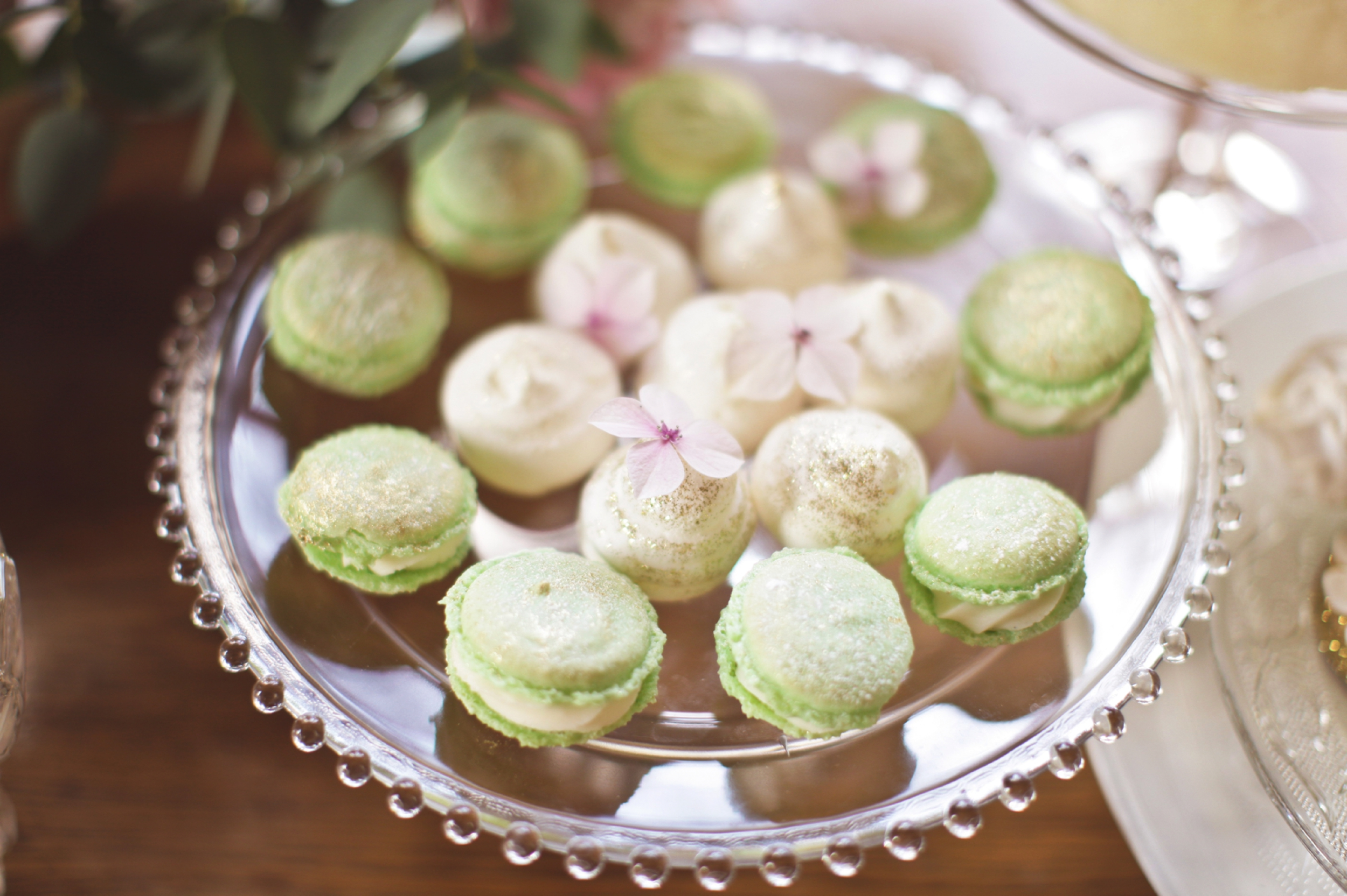 green and gold macaron, wedding macaron, dessert table.jpg