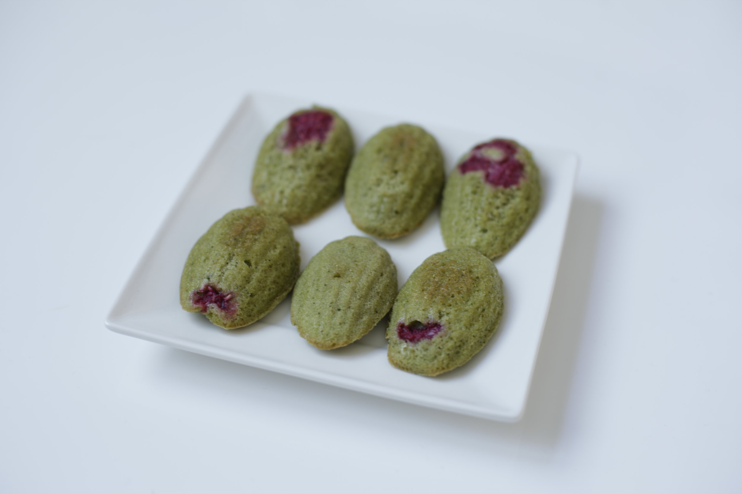 Matcha and Raspberry Madeleines