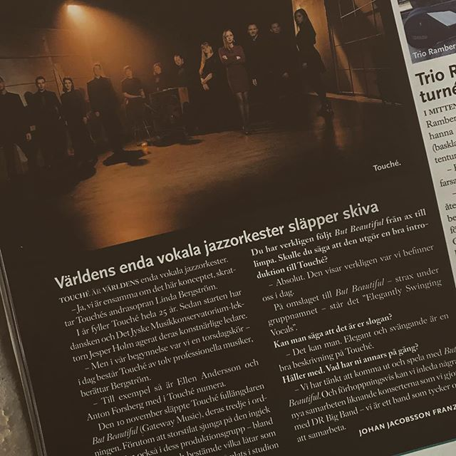 SO GREAT to be featured in the latest issue of Swedish jazz magazine @orkesterjournalen!! #touchejazz #vocalbigband #vocaljazz #butbeautiful