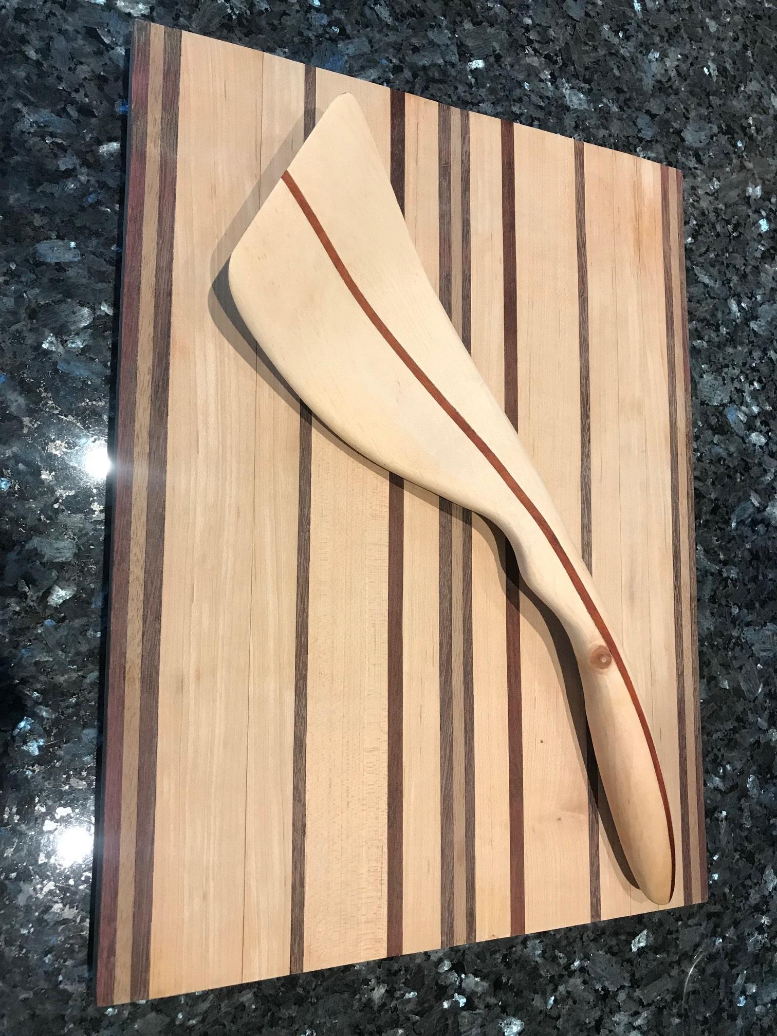 Riley Garner   Exotic Ergonomic Spatula  Blood Wood and Pine  and Cutting Board   Ash Maple Walnut Blood wood.jpg