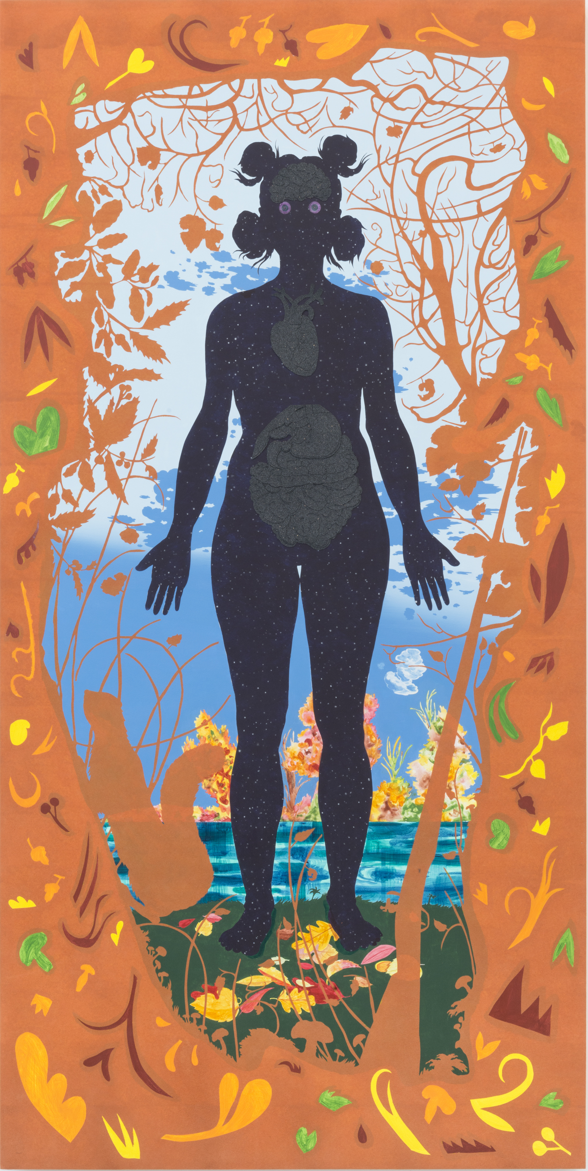 Autumn - acrylic, paper and velvet flocking on wood panel72 x 36 in.