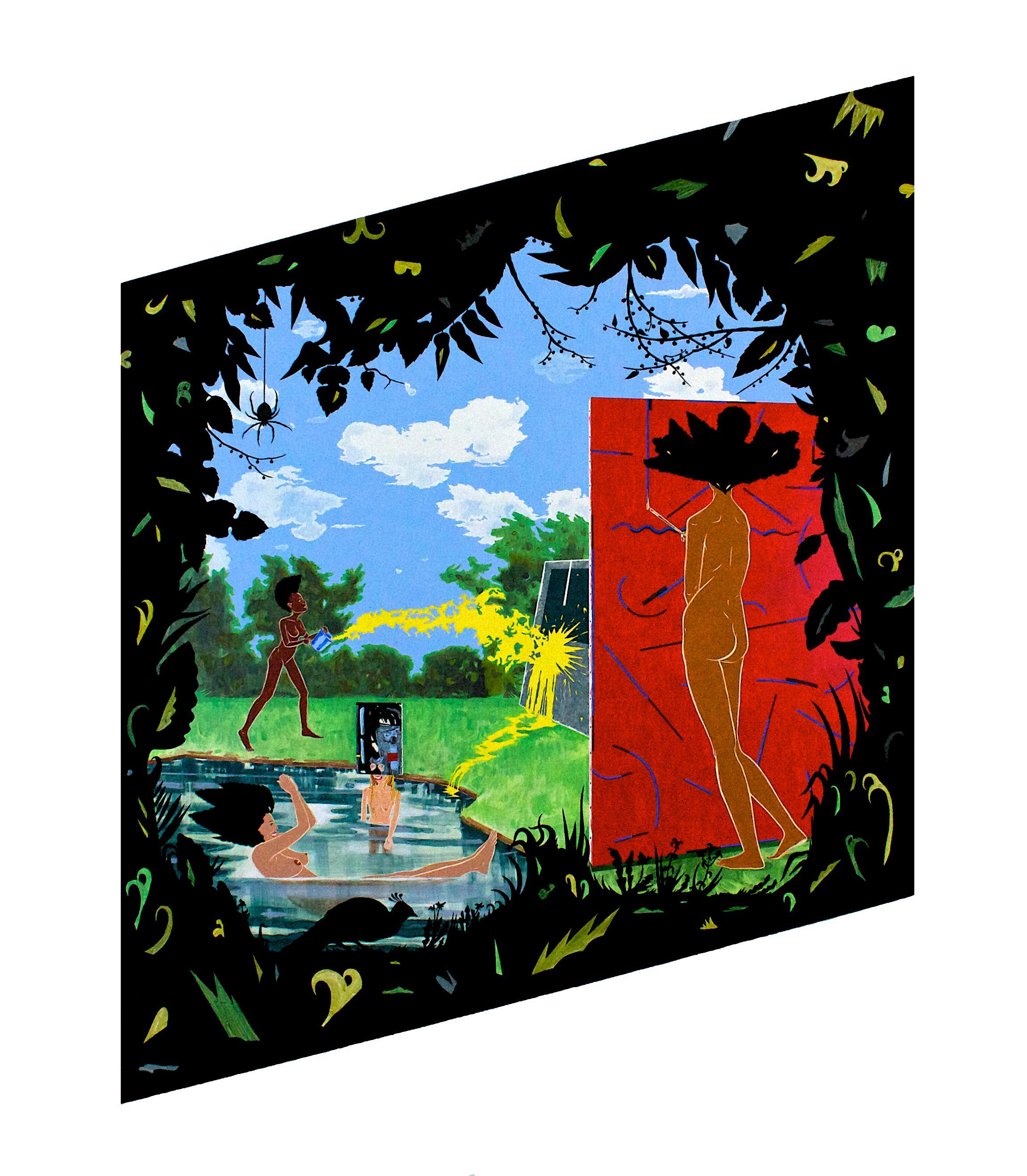 Rhombus - acrylic, paper, and velvet flocking on wood panel75 x 58 x 2 in.