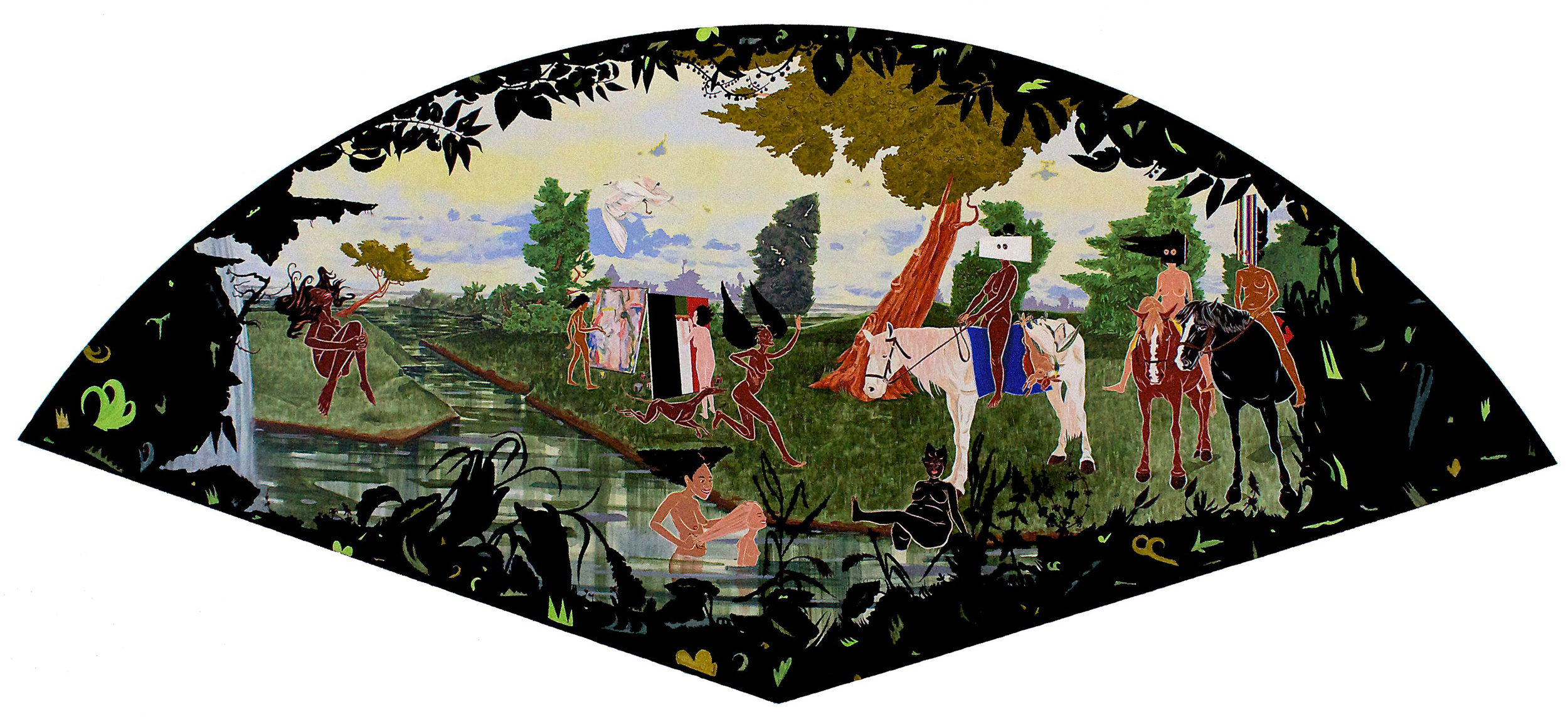 Jubilee - acrylic, paper and velvet flocking/wood panel60 x 141 1/2 x 2 in.