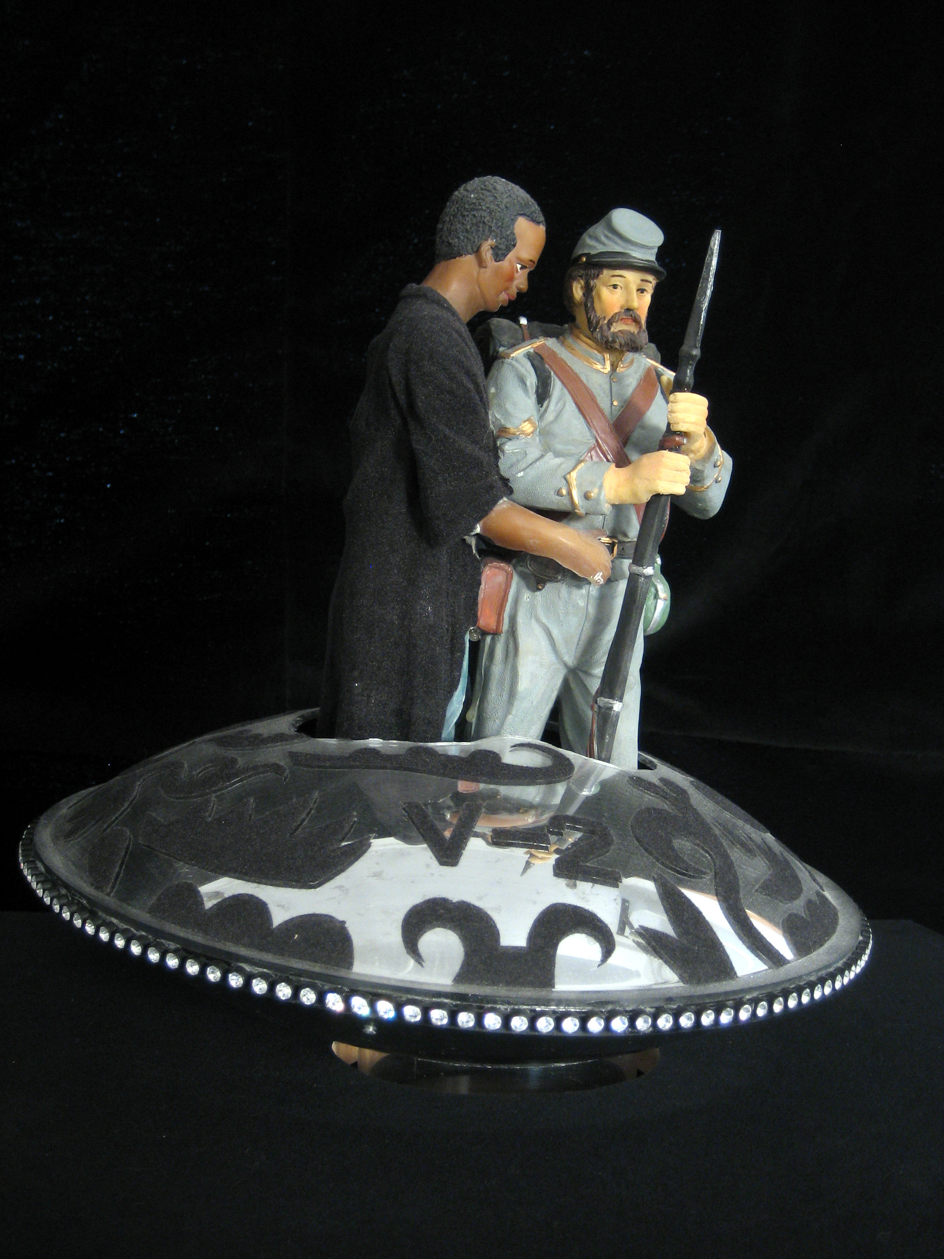 Adam and Steve (V Ship 2) - ceramic parts, plexiglass, velour flocking, rhinestones, and rotating base21 x 18 x 18 in.