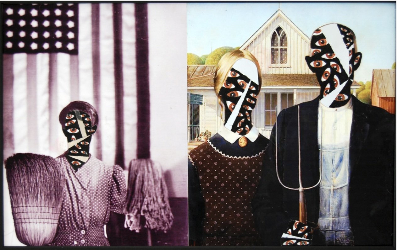 American Gothic: Grant Wood and GordonParks - photograph and mylar/ panel15 1/2 x 21 in.