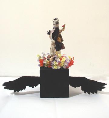 Why U Want To Fly Blackbird - ceramic parts, velour, rhinestones, wood base18 1/2 x 22 1/2 x 7 in.