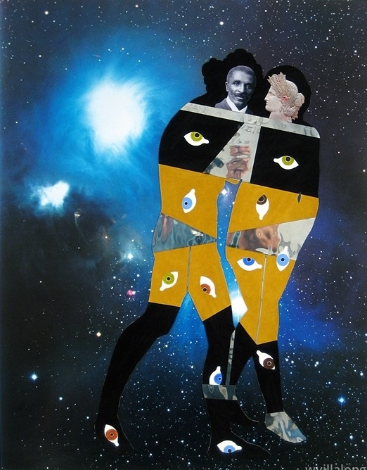 George & Demeter in the Corona AustralisReflection Nebula - velour paper, acrylic paint, inkjet prints and poster on museum board