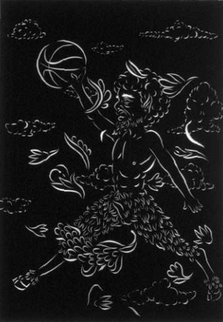 Air Satyr - cut velour paper19 1/2 x 27 1/2 in.