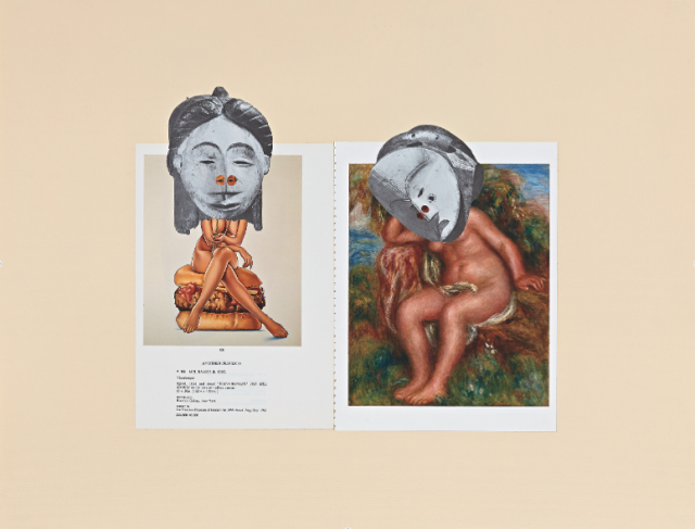 William Villalongo, 'Muses (Artifact 1)', 2012-14, 7 paper collages in plexiglass vitrines, 23 1/2 x 18 in.
