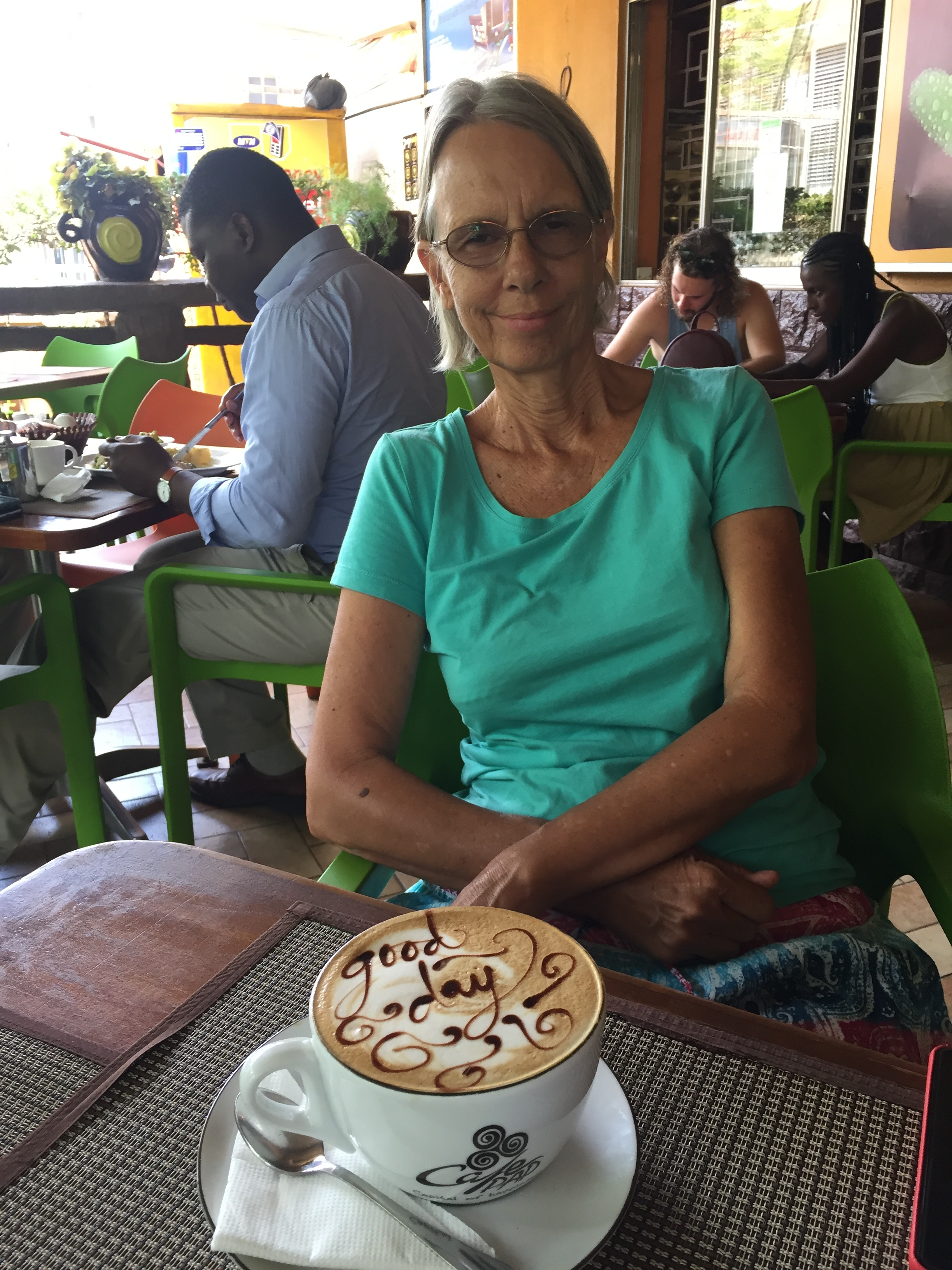 Carla will treat you to an Ugandan Latte if you visit her- best cappachinos you will ever drink!  Or maybe you prefer Chia tea?
