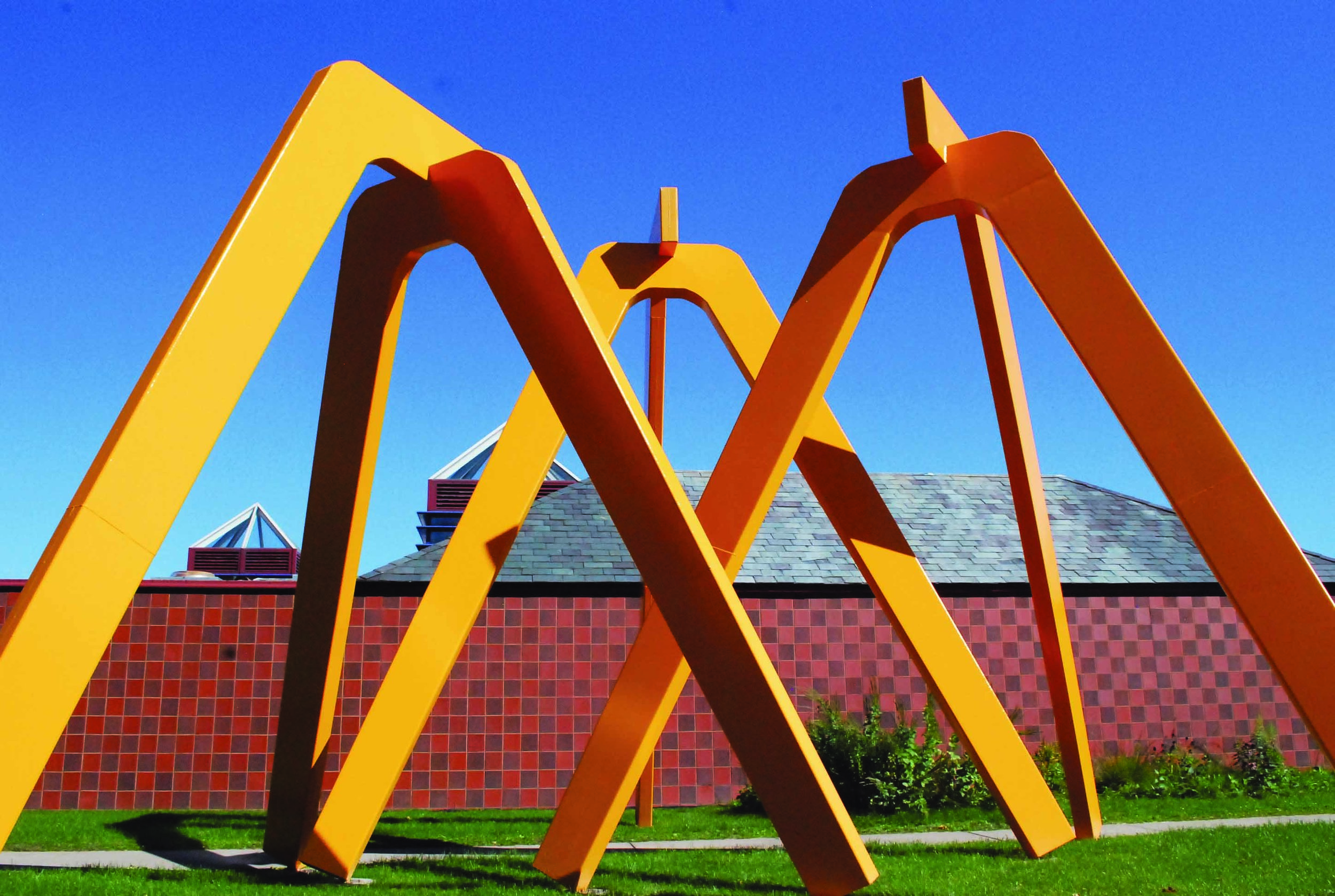 Fully restored sculpture outside of Wriston Galleries on Lawrence Campus